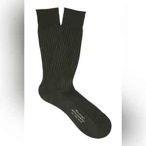 Fonce Olive Mid-Calf Cotton Ribbed Socks