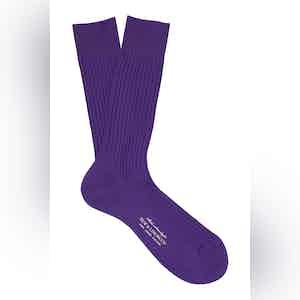 Grape Mid-Calf Cotton Ribbed Socks