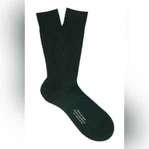 English Green Mid-Calf Cotton Ribbed Socks