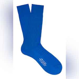Vivid Blue Mid-Calf Cotton Ribbed Socks