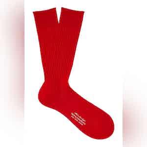 Cherry Mid-Calf Cotton Ribbed Socks