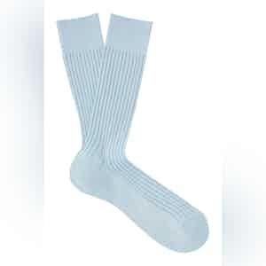 Powder Blue Mid-Calf Cotton Ribbed Socks