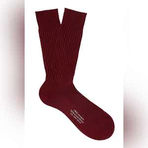 Red Wine Mid-Calf Cotton Ribbed Socks