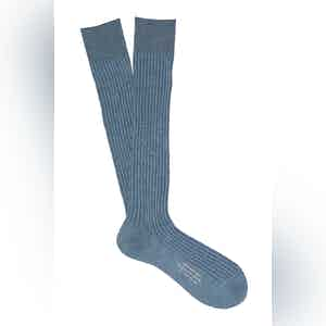 Dust Blue Long Cotton Ribbed Socks