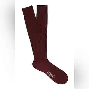 Dark Red Long Cotton Ribbed Socks