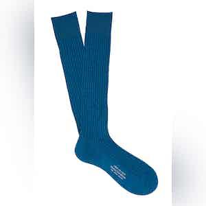 Night Blue Long Cotton Ribbed Socks