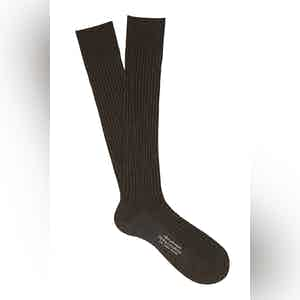 Coffee Brown Long Cotton Ribbed Socks