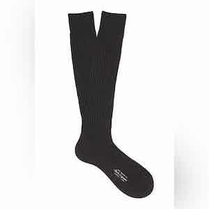 Charcoal Grey Long Cotton Ribbed Socks
