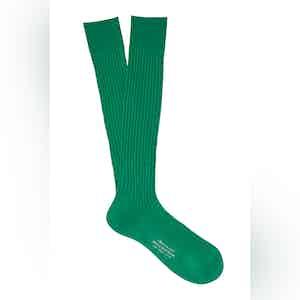 Vivid Green Long Cotton Ribbed Socks