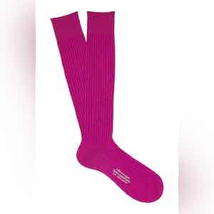 Acid Pink Long Cotton Ribbed Socks