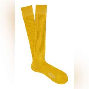Golden Long Cotton Ribbed Socks