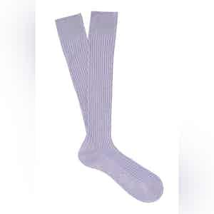 Violet Long Cotton Ribbed Socks