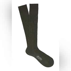 Fonce Olive Long Cotton Ribbed Socks