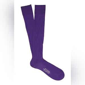 Grape Long Cotton Ribbed Socks