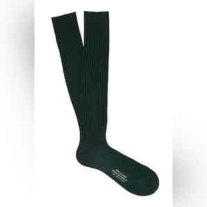 English Green Long Cotton Ribbed Socks