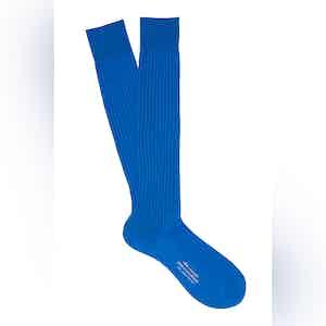 Vivid Blue Long Cotton Ribbed Socks