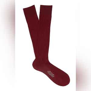 Red Wine Long Cotton Ribbed Socks