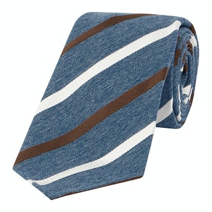 Brown And Ivory Regimental Stripe Tie