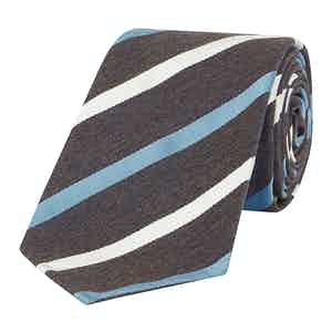 Ivory And Light Blue Regimental Stripe Tie