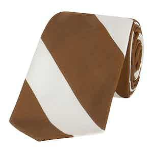 Brown And Ivory Large Regimental Stripe Tie