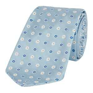 Light Blue Jacquard Micro Flower Tie