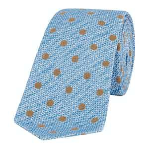 Light Blue Jacquard Pois Flower Tie