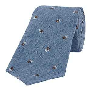Indigo Jacquard Flower Tie