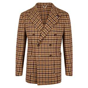 Brown Houndstooth Double Breasted Jacket