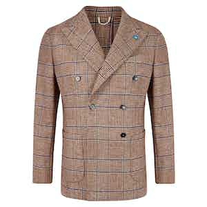 Rust Prince Of Wales Doubled Breasted Jacket