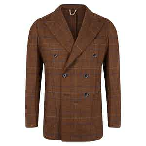 Brown Prince Of Wales Double Breasted Jacket