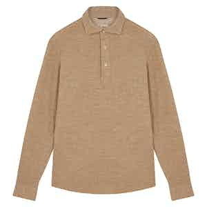 Beige Long Sleeve Polo Shirt