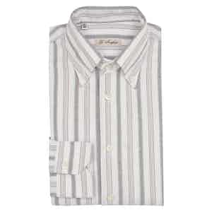 Grey, Blue And White Striped Shirt
