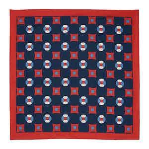 Navy Farfalla Silk Pocket Square