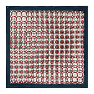 Navy And Red Fiore Silk Pocket Square