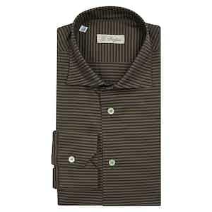 Dark Green Diagonal Stripe Semi-Francese Shirt