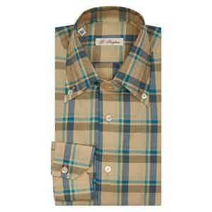 Beige And Turquoise Check Anacapri Button Down Shirt