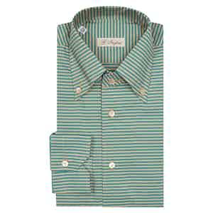Beige And Turquoise Diagonal Stripe Anacapri Button Down Shirt