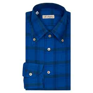 Blue and Black Wide Check Button Down Shirt