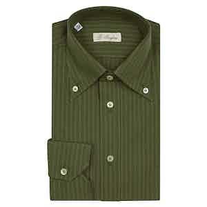 Green Striped Button Down Shirt