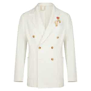 White Denim Double-Breasted Blazer