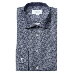 Navy Flannel Floral Print Slim Fit Shirt