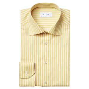 Yellow Twill Bengal Striped Slim Fit Shirt