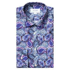 Blue Paisley Print Slim Fit Shirt