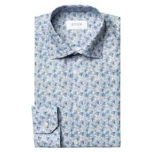 Blue Twill Floral Print Slim Fit Shirt