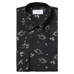 Black and Gold Fil Coupé Slim Fit Evening Shirt