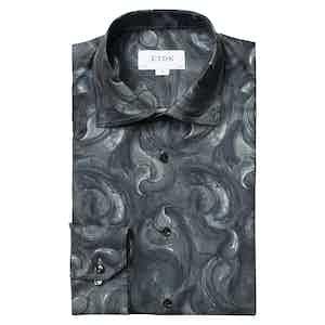 Midnight Blue Paisley Slim Fit Drop Shirt