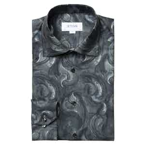Midnight Blue Paisley Slim Fit Drop Shirt