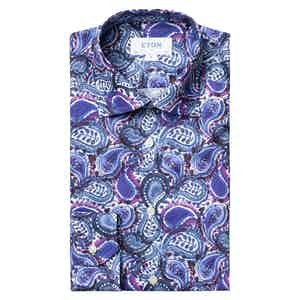 Blue Paisley Print Contemporary Fit Shirt