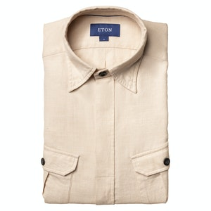 Beige Casual Fit Overshirt