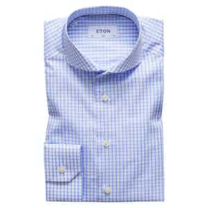 Light Blue Check Stretch Slim Fit Shirt